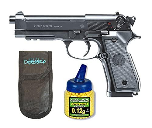 Conjunto Pistola Airsoft electrica Beretta M92 A1 con bateria y Cargador Incluido. + Funda Portabalines + 1000 Bolas. 23054/21993