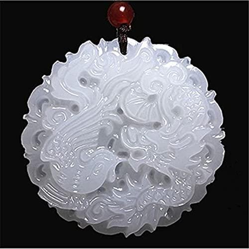 YANGYUE Collar con Colgante de Fénix dragón de Jade Blanco Natural, joyería de Amuleto Tallado a Mano Chino, Amuleto de Moda para Hombres y Mujeres, Regalos para Amantes