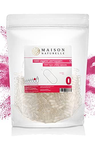 MAISON NATURELLE® Vegane Leerkapseln Gr. 0 (1000 Stück) – leere Kapseln zum Befüllen – aus HPMC hergestellt aus Kieferfaser – Non-GMO, Project V-Label, Kosher und Halal zertifiziert