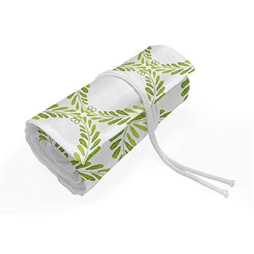 ABAKUHAUS Bloemen Etui met Rolomslag voor Pennen, Lauwerkrans Illustraties, Duurzame & Draagbare Potloodetui, 36 Vakjes, Lime Green Geel Groen