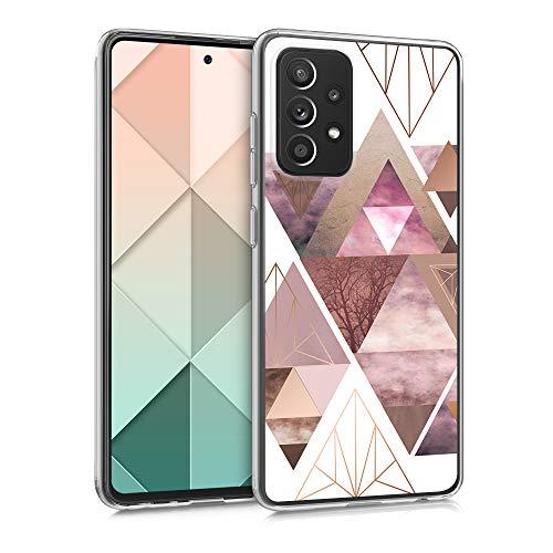 kwmobile Hülle kompatibel mit Samsung Galaxy A52 / A52 5G / A52s 5G - Handyhülle Silikon Hülle - Glory Dreieck Muster Rosa Rosegold Weiß