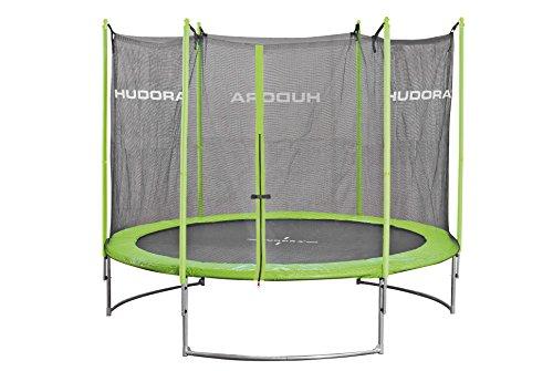HUDORA Family Trampolin 400 cm, grün/schwarz - Garten-Trampolin mit Sicherheitsnetz, Leiter und Randabdeckung - 65640