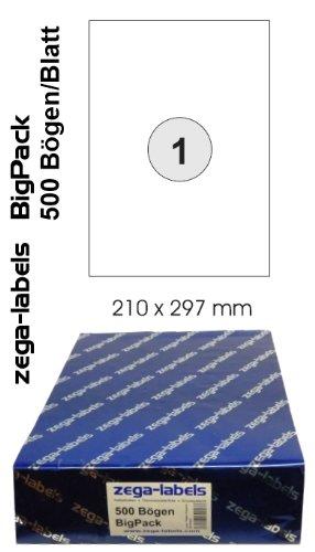 500 Etiketten 210 x 297 mm selbstklebend auf DIN A4 Bögen (1 Etikett DIN A4) - 500 Blatt Bigpack - Universell für Laser/Inkjet/Kopierer einsetzbar