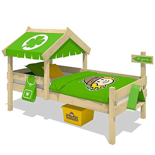 WICKEY Lit enfant CrAzY Buddy Lit jeu 90x200 Lits aventures avec toit et sommiers à lattes, pomme vert