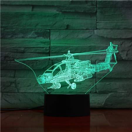Sanzangtang Led-nachtlampje, 3D-visionzeven, kleuren-afstandsbediening, helikopter-model, nachtlampje, illusie, fighter, decoratielamp, tafellamp, nachtlampje