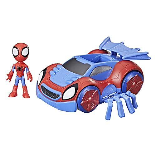 Hasbro Marvel Spidey and His Amazing Friends Verwandelbarer Web-Flitzer und Spidey Action-Figur, 10 cm große Figur, ab 3 Jahren