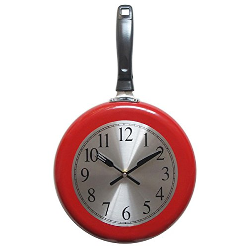 Reloj de pared, 25,4 cm de metal, para cocina, decoración del hogar, reloj de pared con un destornillador (rojo)
