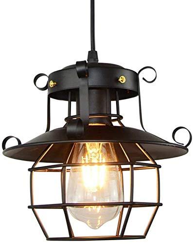 OUKANING Retro de la Lámpara Negro Iluminación Interior Industrial E27 Lámpara de Techo Luz Colgante Retro Metal para Restaurante Cafetería Decoración Industrial