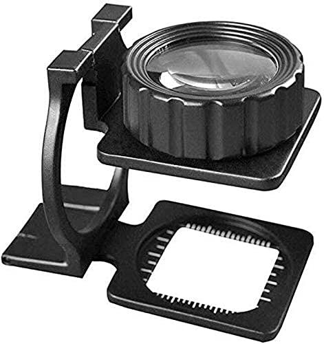 ZHAOJ Lupa 20X Mini Metal con Regla Plegable Escala Lente de Aumento Paño de Vidrio óptico de Aumento 70 x 40 x 28 m