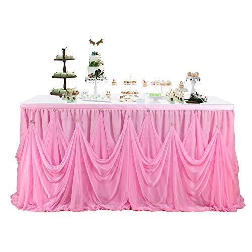 ETbotu decoratie bruiloft - rekwisieten bruiloft - effen elastische tafel rok met magische stickers voor bruiloftsfeesten decoratie
