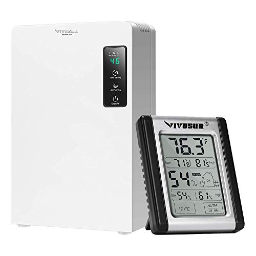 VIVOSUN Electric Mini Auto Defrost Dehumidifier, 2200ML Water Tank and Digital Indoor Thermometer and Hygrometer