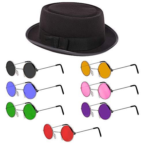 Sombrero Pastel de Cerdo Negro para Adultos + Gafas de Sol Redondas Verdes - Mods y Películas Sombrero de Pastel de Cerdo para Hombres y Mujeres. Tamaño: 58 cm