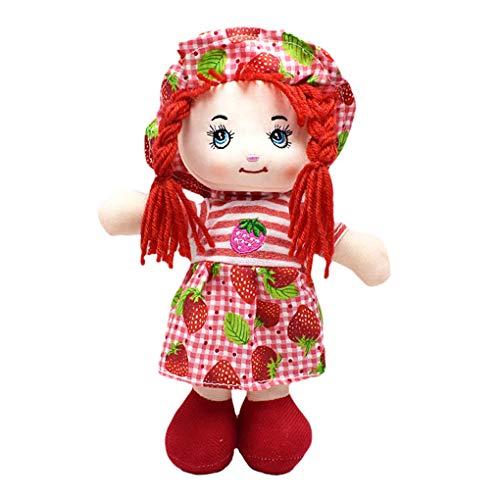 on brand Qingfaqui Stuffed Dolls Plüsch 25cm Karikatur-Frucht-Druck-Rock-Stoffpuppe Kinder Geburtstag Hut Rag Doll weiche Nette Baby-Tuch-Spielzeug Kinder Geburtstags-Geschenke