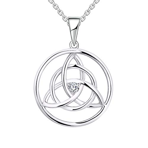 YL 14K White Gold Round Celtic Trinity Knot Diamond Pendant Necklace for Women