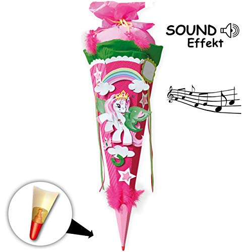 alles-meine.de GmbH mit Sound Effekt & Geräusch - BASTELSET - Schultüte - Pony / Einhorn - 85 cm - mit Holzspitze - Zuckertüte Roth ALLE Größen - 6 eckig - pink - Einhörner Regen..