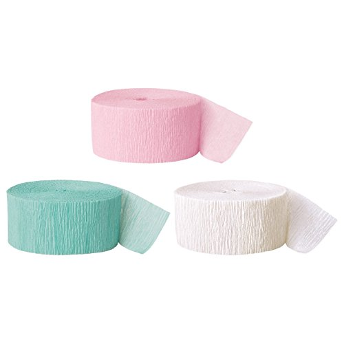 Andaz Press Crepe Paper Streamer Hanging Party Decorations Kit, 240-Feet, Pink, Seafoam Mint Green, White, 1-Pack, 3-Rolls, Easter Colored Wedding Baby Bridal Shower Birthday Supplies