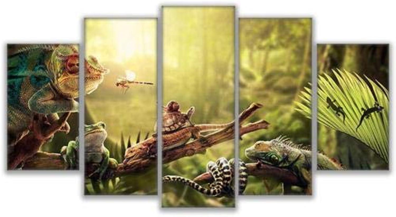 EUFJHS 5 Teilig - Leinwandbilder -In Leinwanddrucke Hdleinwand Wandkunst Wohnkultur Drucke Poster Leguan Schnecke Gecko Reptilien Schlange Malerei Friedliche Waldleben Bilder-B2 Rahmen