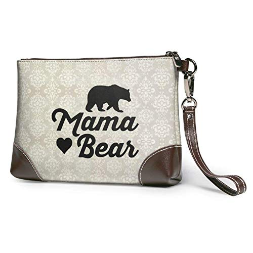 Mama Bear Women's Leather Clutch Hand Bag. Gift .Envelope Bag, Wallet and Carrying Case.