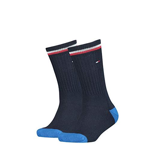 Tommy Hilfiger Unisex Kinder Tommy Hilfiger Iconic Kids\' Sports Socken (2 Pack), midnight blue, 35-38
