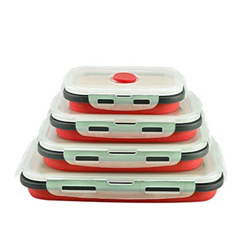 Recipiente para Almuerzo, recipientes de plástico para Almacenamiento de Alimentos YOUJING con Tapas, Fiambrera Plegable de Silicona de 4 Piezas