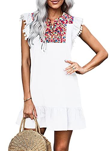 KIRUNDO Women s Summer Mini Dress Casual V Neck Boho Dress Embroidery Ruffled Sleeveless Shift Dress Loose Badydoll Dress(B-White, Small)