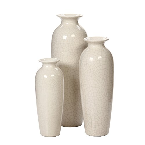 Hosley Set of 3 Crackle Ivory Ceramic Vases in Gift Box. Ideal Gift for Wedding or Special Occasions; for Use in Home Office, Decor, Floor Vases, Spa, Aromatherapy Settings O3