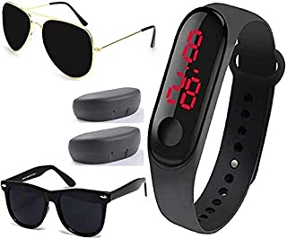 Sheomy New Arrival Special Collection Black Color Unisex Silicone Rubber Touch Screen Digital Watch LED Band Wrist Watch with Sunglasses Combo Ideal for Boys, Girls, Men, Women