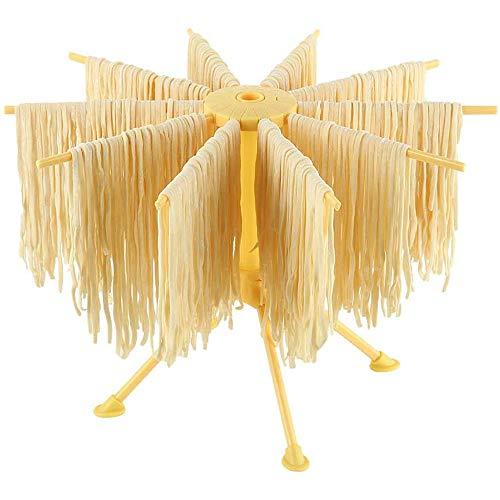 Bugucat Secador de pasta con 10 peldaños extensibles para hasta 2 kg de pasta, tazas, toallas, varilla de transporte integrada, secador de espaguetis plegable, secador de pasta