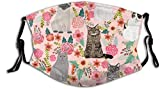 Cubierta facial unisex, diseño de flores de jardín para gatos, gatos, gatos, dama, dulces, gatos, grises, lindos gatos y mascotas, tela reutilizable, cubierta protectora transpirable, pasamontañas