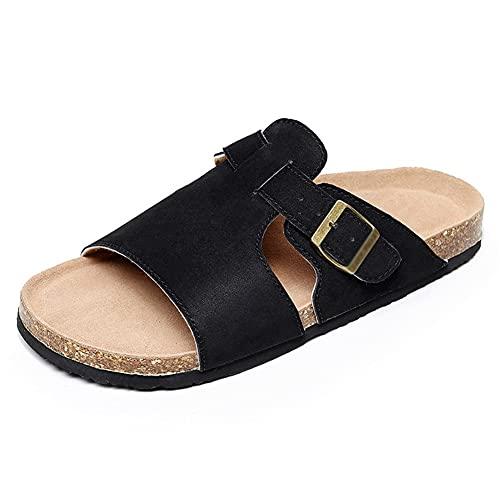 NJZYB Zapatillas De Corcho De Verano Para Hombre Zapatillas De Cuero De Gamuza Hombre Zapatillas De Playa De Corcho Suave Calzado Para Hombres (Color : Black, Size : 43yards)