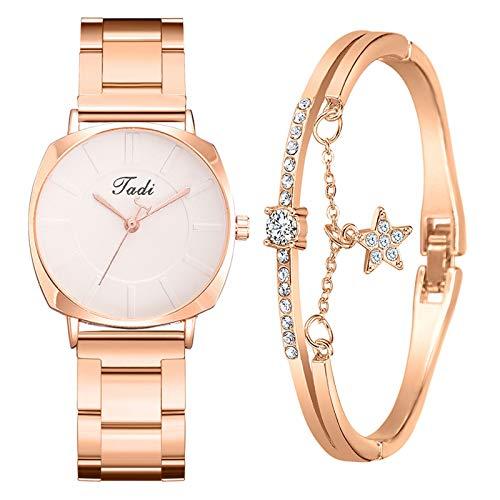 Damen Armbanduhr mit Armreif Armbänder Zweiteiliger Anzug Damenuhr Uhr Minimalistisch Quartz Uhr Mode Damen Uhren Geschäftsquarzuhr Business Quarzuhr für Frauen
