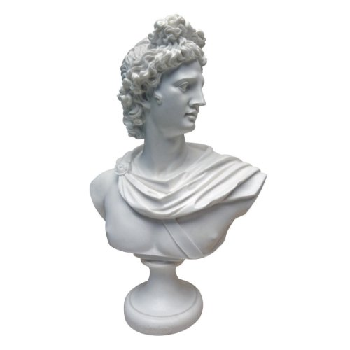 Design Toscano PD72520Apollo Belvedere 350–325BC de mármol, Resina escultural Busto, Color Blanco