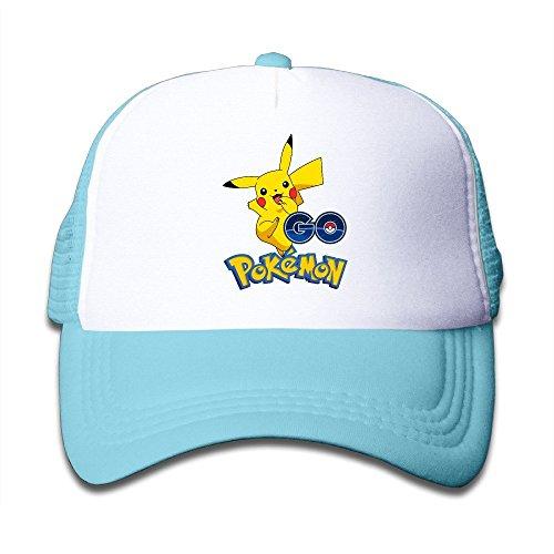 Huseki Youth Children Kids Summer Pokemon Go Pikachu Baseball Cap Hat Snapback Black Skyblue