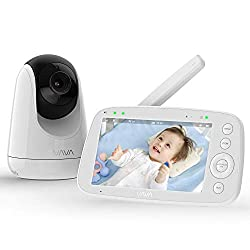 """VAVA 720P 5"""" HD Display Video Baby Monitor with Camera and Audio, IPS Screen, 900ft Range, 4500 mAh Battery, Two-Way Audio, One-Click Zoom, Night Vision and Thermal Monitor (Renewed)"""