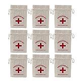 Vosarea 20pcs Bolsas de arpillera 14x10cm con cordón Kit de Resaca Kit de recuperación Kit de Supervivencia Bolsas de Lazo Bolsas de Favor Bolsas de Muselina (Kit de Entrega)