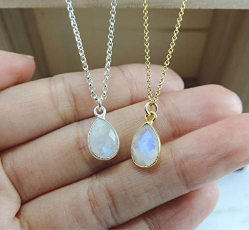 Silver Moonstone Gemstone Necklace Moonstone Teardrop Sterling Silver or Gold Filled Moonstone Necklace Wire Wrapped Moonstone