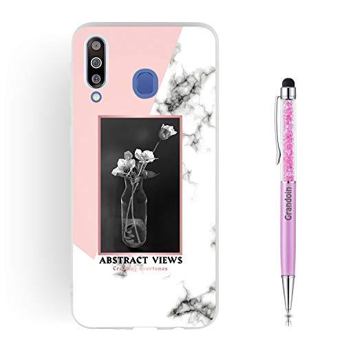 Grandoin für Galaxy M30 Hülle, Stoßfeste Marmorserie Mattiert HandyHülle Ultra Dünn Weiche TPU Silikon Schutz Handy Hülle Handytasche Case Cover für Samsung Galaxy M30 (Vase)