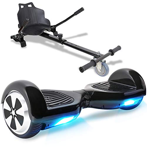 TOEU Hoverboard with Seat Attachment, 6.5' Segway with Hoverkart, Built-in Bluetooth & Colorful Led Lights, Balance Board for Kids Gifts (Black)