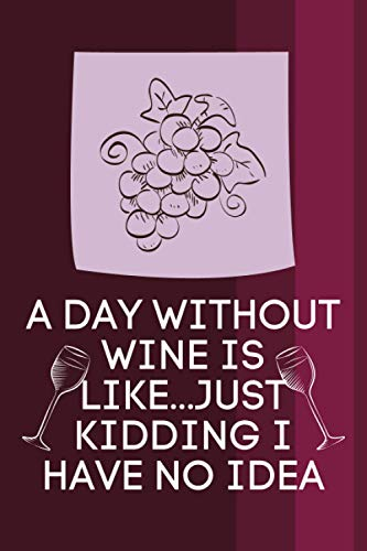 A DAY WITHOUT WINE IS LIKE JUST KIDDING I HAVE NO IDEA: wedding men party folly lined notepad diaries best tasting note journal record ideas.