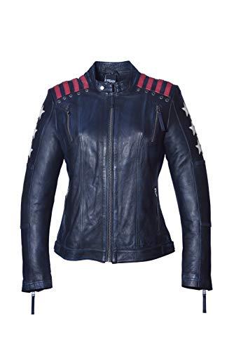 Urban Leather Chaqueta Moto Mujer Con Protecciones |Cazadora Moto Mujer Rising Star | Chaqueta Piel Moto con Protecciones CE Para Hombros, Codos y Espalda|Azul Marino |L