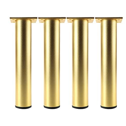 Juego de 4 patas ajustables de Patas para muebles Patas de Muebles de Pies de Gabinete Regulables Redondo Armario de Cocina Pies para Sofá Mesa Estantes(Color:gold,Size:20cm/7.8in)