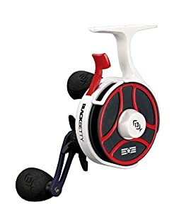 13 FISHING - Free Fall Ghost Maverick Edition - Inline Ice Fishing Reel - Red, White & Blue Color - Right Hand Retrieve - BBFFGWUSA-2.5-RH