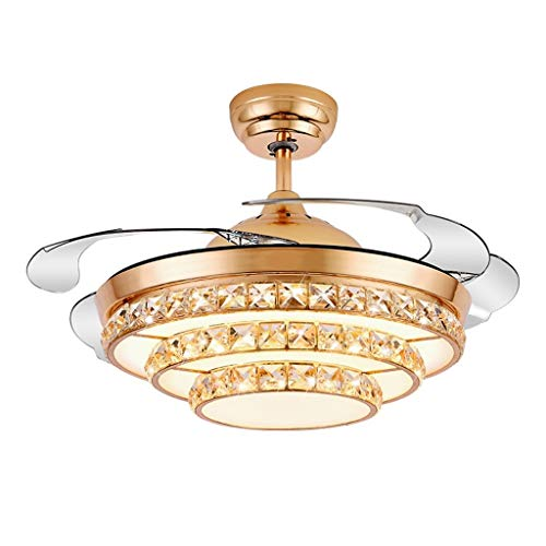 Luz silenciosa del ventilador de techo Ventilador de cristal de la lámpara de moda invisible Ventilador de techo Luz restaurante Ventilador de Luz Salón moderno del dormitorio de la luz eléctrica del