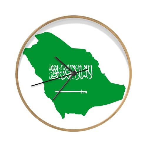 Uhr - Ø 30 cm - Holzfarbene - Eine Illustration Einer Karte von Saudi-Arabien mit den Farben der Flagge - Wand