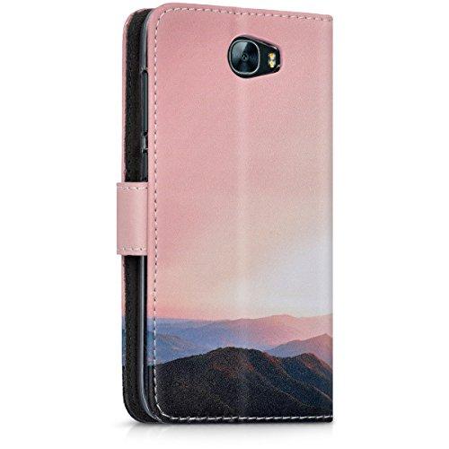 kwmobile Huawei Y6 II Compact (2016) Hülle - Kunstleder Wallet Case für Huawei Y6 II Compact (2016) mit Kartenfächern und Stand - Berg Morgenröte Design Altrosa Schwarz - 3