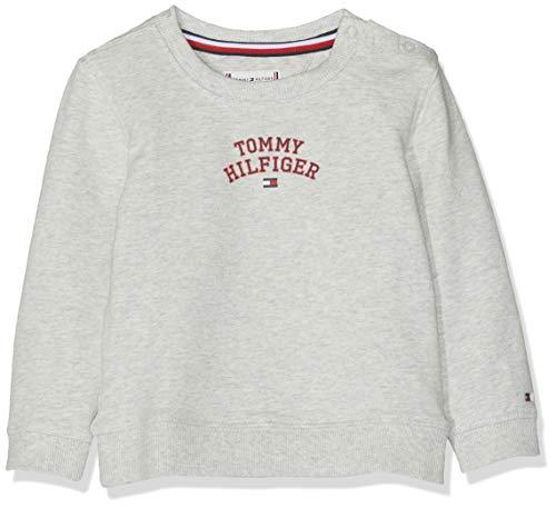 Tommy Hilfiger Baby-Mädchen Essential Logo Sweatshirt, Grau (Light Grey Htr 023), (Herstellergröße: 92)