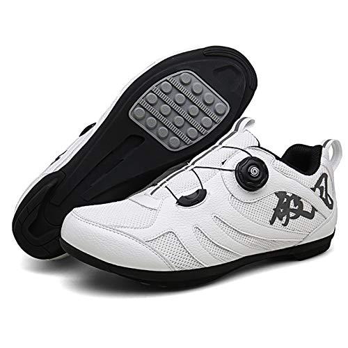 Sebasty Zapatillas De Ciclismo MTB Profesionales Al Aire Libre,Zapatillas De Bicicleta De Carretera De Carreras Antideslizantes Transpirables para Hombres,Zapatillas Deportivas Sin Bloqueo,White41