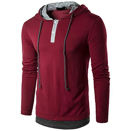 SSBZYES Suéter para Hombre Camiseta Casual para Hombre Falso De Dos Piezas con Cordón para Hombre Camiseta De Manga Larga para Hombre Suéter De Manga Larga para Hombre