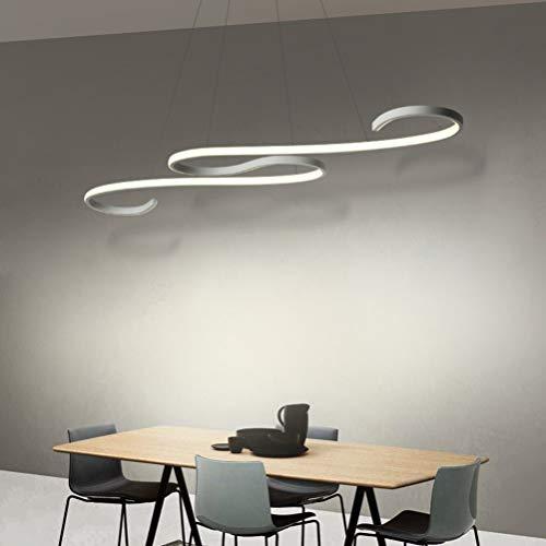 Lámpara de mesa LED colgante de 46 W, diseño elegante, color blanco, regulable, decoración para comedor, bar, cafetería, club, para lámpara de lectura o decoración del hogar, con mando a distancia