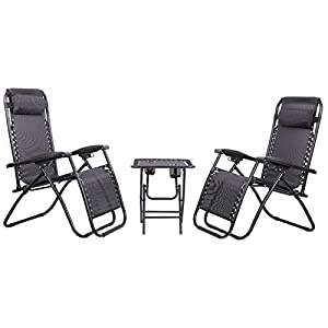 Olsen and Smith 3 Piece Zero Gravity Chair & Table Set - Charcoal